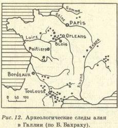 Археологические следы алан в Галии(по Б.Бахраху)