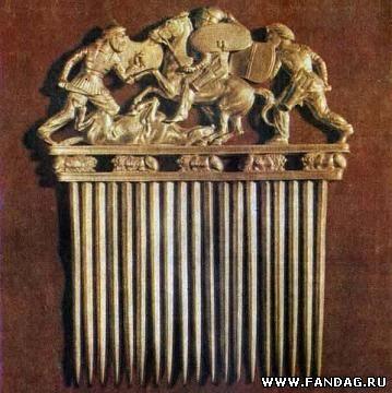 Золотой гребень из скифского кургана Приднепровья. IV в. до н.э.