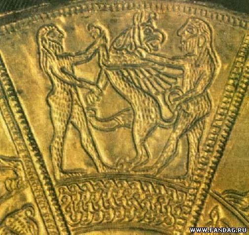 Фрагмент серебряного зеркала нач. VI в. до н.э. из Келермесского кургана в Прикубанье Существует предположение, что тут представлена сцена борьбы аримаспов с грифом