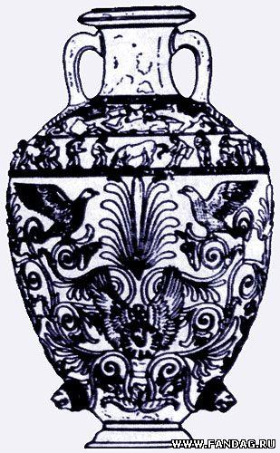 Трехъярусная композиция - сцена терзания, поимка скифами коня для жертвоприношения и древо жизни с птицами. Рисунок на амфоре, Чертомлык